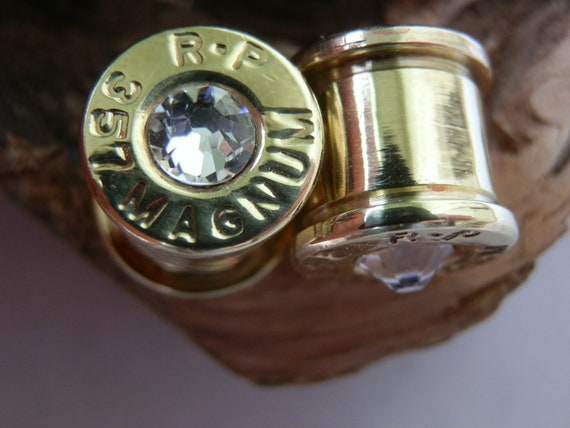 357 Magnum Ear Plugs with Swarovski Crystals