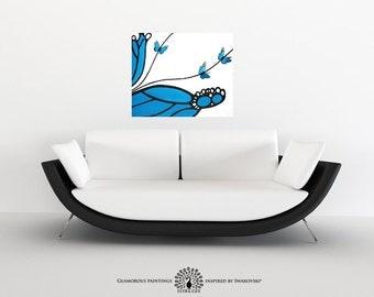 ABSTRACT painting with 3D butterflies. Original abstract art. Cyan blue painting + Swarovski®. 3D butterfly wall art decor blue abstract art