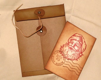 Merry Christmas Vintage Inspired and distressed Mini Pocket Envelope Christmas Gift card Money Holder