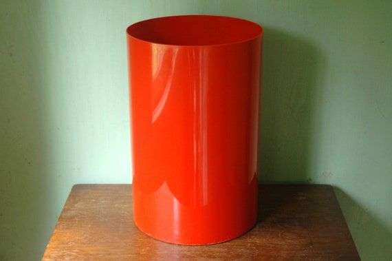 Mid Century Kartell Cestino Waste Basket - Red Plastic Mod Trash Can