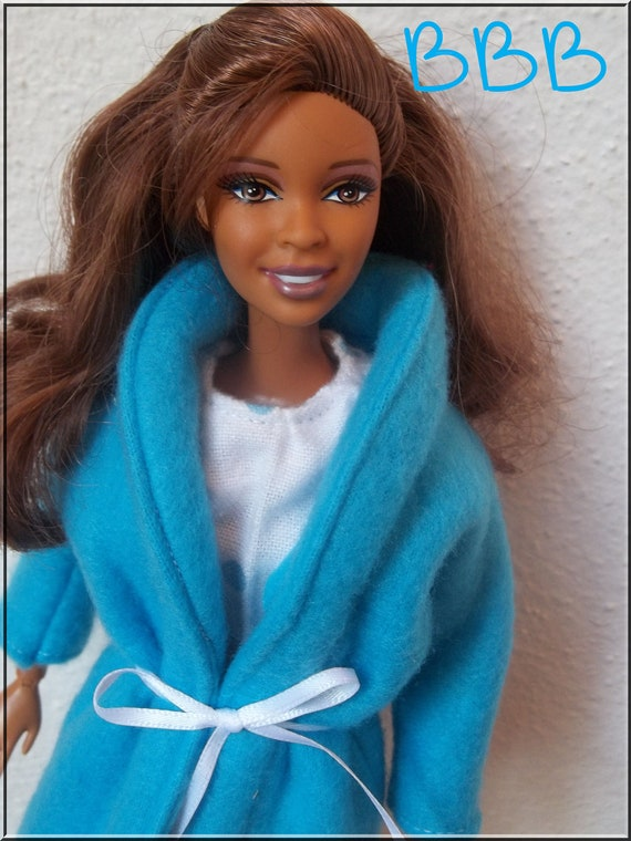 Barbie Clothes White Flannel Nightshirt with Sky Blue Fleece Robe for 11 1/2 inch Fashion Dolls