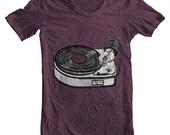 Unisex Men's Women's Fashion Tshirt American Apparel PHONOGRAPH Tee  - Plum -  (9 Colors) Sizes xs, s, m, l, xl (cwt)