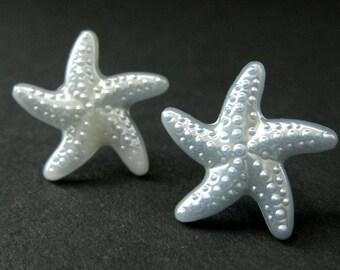 Powder Blue Starfish Earrings. Star Earrings with Silver Stud Earring Backs. Handmade Jewelry.