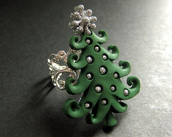 Holiday Ring. Christmas Tree Ring. Christmas Ring. Silver Filigree Adjustable Ring. Handmade Jewelry.