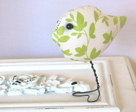 Woodland Green and Cream Leaf Stuffed Bird, Home Decor,Office Decor, Nursery,Child's Room Decoration