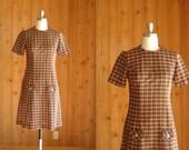 vintage 1960s dress / 60s brown plaid dress / size small medium