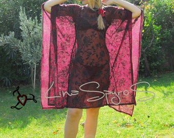 Sexy See Through Cocktail Dress Burgundy Size M Worldwide Shipping