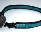 Teal Single Wrap Miyuki Square Bead Bracelet