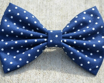 Navy Polka Dot Bow