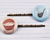 Bobby Pin Modern Picture, Antique Brass, Plastic cabochon, Pastel Colors, Soft Blue