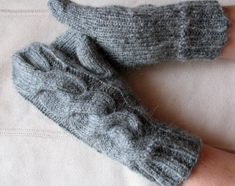 Knit Mittens Gloves Arm Warmers Grey Dove, Soft Acrylic Mohair