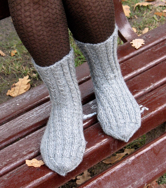 Socks Striped Leg Warmers Gray Super Warm Hand Knit