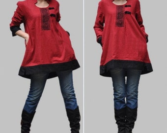 loose fitting Linen asymmetrical coat blouse in Red
