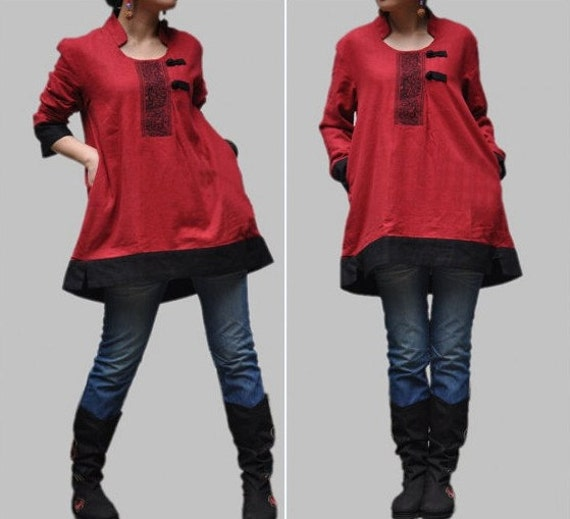 loose fitting Linen autumn asymmetrical large size coat in Red