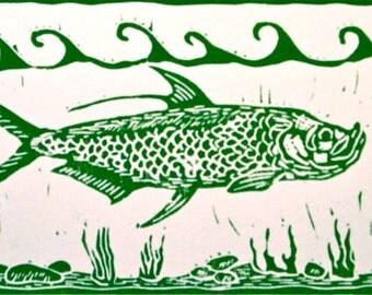 Tarpon linocut artwork of Jonathan Marquardt
