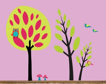 Childrens Tree Wall Decal. Girls Tree Decal, Fabric Wall Decal REUSABLE T131SWA
