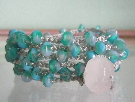 Crocheted-Mermaid Tear's-Czech Beaded Boho Wrap Bracelet-Necklace-Lariat-Anklet