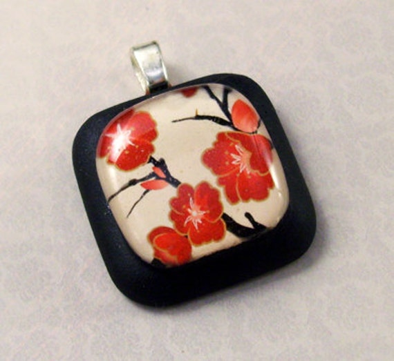 Red Blossoms Black Resin Pendant