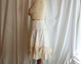 Hand-Dyed Tea Ivory Skirt Size M Tattered Fashion Upcycled Woman's Clothing Casual Woman's Dress Funky Eco Upcycled Tunic Eco Friendly