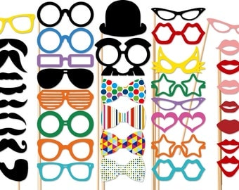 Wedding Photobooth Party - 40 Piece Party Set - Photo Booth Props - Birthday