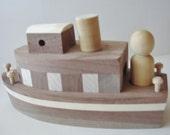 Natural Wood - Childrens -  Toy - Tugboat  Waldorf - Imaginative Play Creative Play
