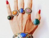 Tribal Jewelry KUCHI Ring Vintage UNUSUAL and BEAUTIFUL Green Orange Purple Blue Oval Round Glass Cabachon Metal Ring