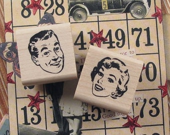Mr.&Mrs. Smile VintageCollage Rubber Stamp Pair