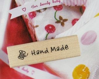 Handmade Label Bobbin Rubber Stamp