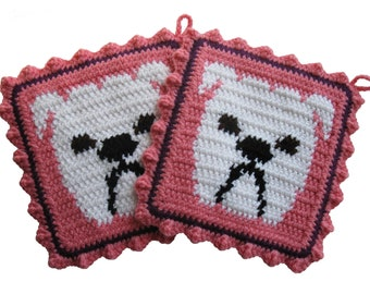 Bulldog Pot Holder Set.  Pink, crocheted potholders with white English bulldogs.