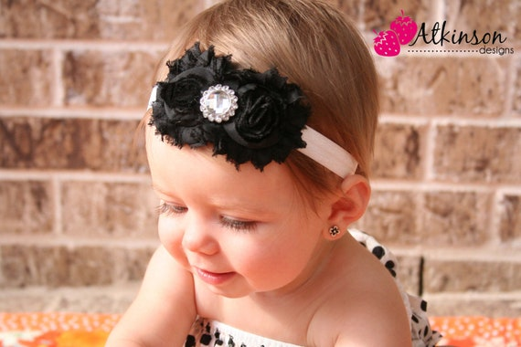 Black Chiffon Shabby Flower Headband- Newborn/Infant/Toddler/Adult - Photography Prop