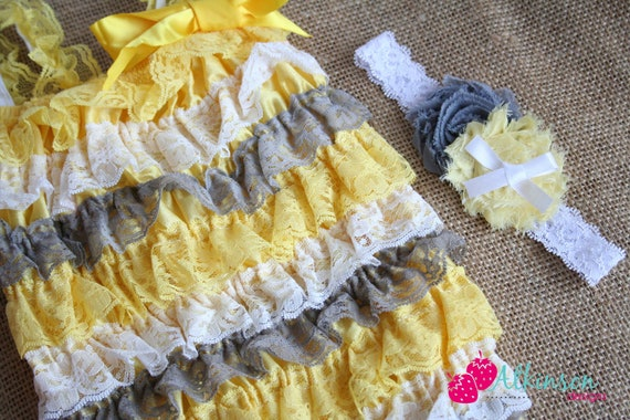 Yellow Grey and White Lace Strapless Romper and Headband Set -Photo Prop- Size EXTRA SMALL Newborn- 6 Months