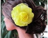 Wedding hair accessory, Unique Yellow bridesmaid flower hair pin, bridesmaid hair accessory