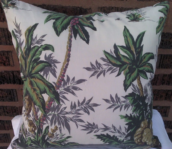 Palm Trees Pillow Cover Hawaiian Shirt 18 Inch Square Upcycled