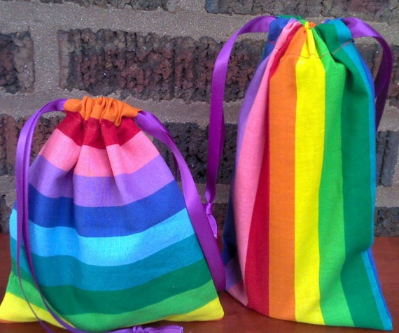 2 Fabric Gift Bags Rainbow Stripes  Upcycled Reusable