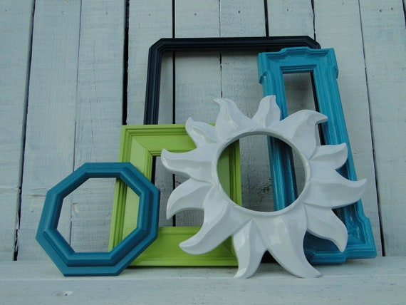 """Frame mirror set collection gallery wall teal turquoise lime green white """"Dew Drop Mirrors"""""""