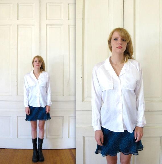 Vtg 80s 90s Diane von Furstenberg White Shirt / Button Down Blouse