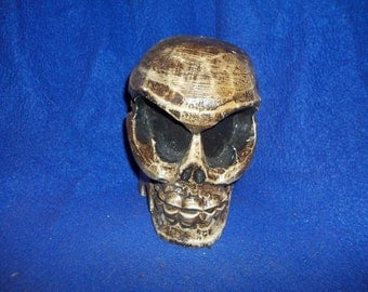 human wooden skull weird decoration decor office decor skeleton