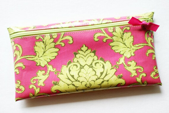 Cash envelope system budget wallet with 6 tabbed dividers // pink & green damask designer laminated cotton fabric