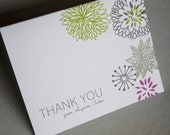 Whimsical Flower Personalized Thank You Cards for any occasion - 15 cards - Great gift for shower, wedding