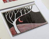 Red Moon - signed original hand pulled linocut monoprint - contemporary fine art