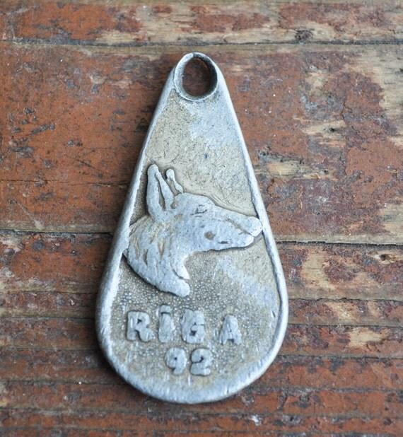 Vintage Soviet aluminum pendant,dog tag.