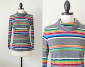 vintage turtleneck / 1970s rainbow striped shirt / Candy Stripe