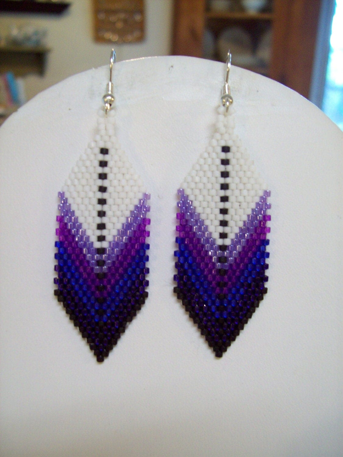 Native american style beaded feather earring purples for Native american feather jewelry