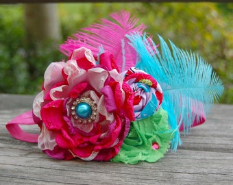 Satin Flower Couture Headband  - Photo Prop - Newborn - Bridal - Handmade Flower - Shabby Chic