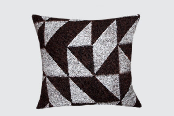 "Real Pure Grey-Brown Wool Throw pillow cover with geometric patterns, fits 18""x 18"" insert, Toss pillow case, Cushion case."