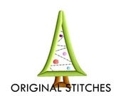 Mod Christmas Tree Applique and Embroidery Digital Design File 4x4 5x7 6x10