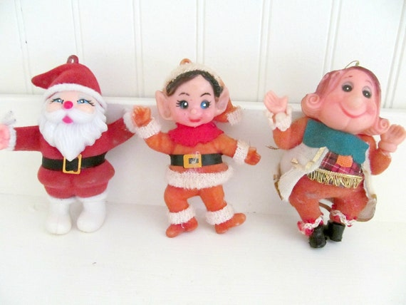 RESERVED FOR VICTORIA - Three Vintage Christmas Ornaments Santa, Elf and Old King Cole, Kitsch Flocked Ornaments, Made in Hong Kong