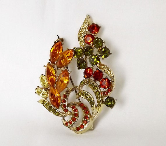 Amber, orange and green stone brooch by Exquisite of England