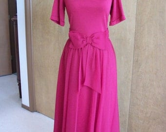 SALE - Miss Elliette Burgundy Flowing Dress with Bow Waist and Sheer Skirt M L Sweetheart Neckline
