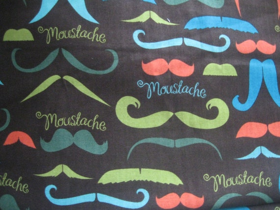 fat quarter   fabric cotton DESIGNER rare moustache quality   ships fast sewing quilting rag mixed media art and  craft